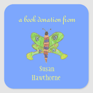 Pegatina de la donación del libro - mariposa -
