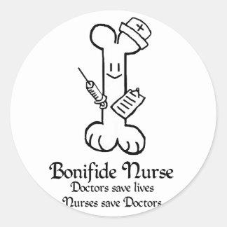 Pegatina de la enfermera de Bonifide