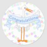 Pegatina de la enhorabuena de la cigüeña (azul)