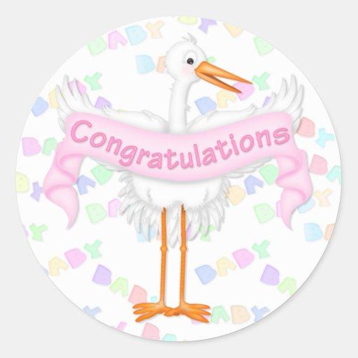 Pegatina de la enhorabuena de la cigüeña (rosa)