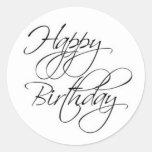 Pegatina de la escritura del feliz cumpleaños