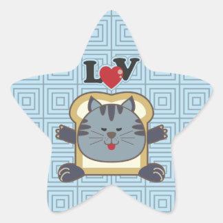 Pegatina de la estrella azul del gato que empana