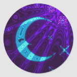 Pegatina de la estrella de la luna púrpura/azul