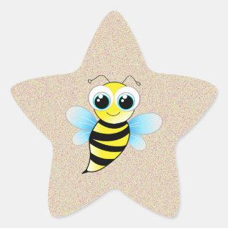 Pegatina de la estrella de la plata de la abeja
