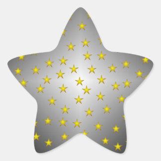 Pegatina de la estrella de la plata y del oro