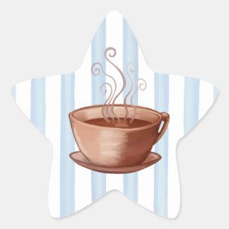 Pegatina de la estrella de la taza de café
