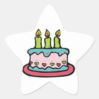 Pegatina de la estrella de la torta de cumpleaños