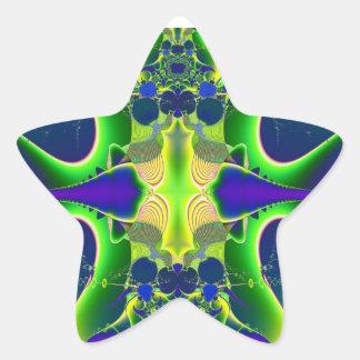 Pegatina de la estrella del fractal del verde azul