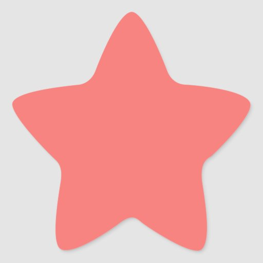 Pegatina de la estrella del rosa de color salmón