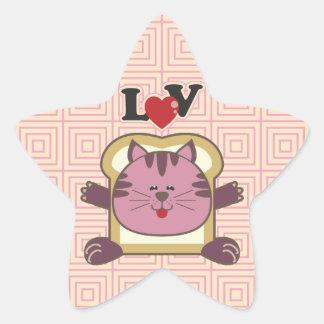 Pegatina de la estrella del rosa del gato que