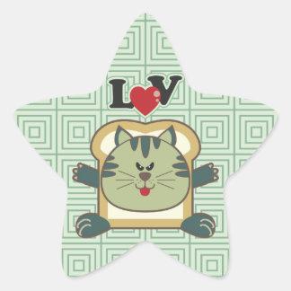 Pegatina de la estrella del verde del gato que