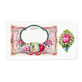 Pegatina de la etiqueta/del arte de los rosas del  etiquetas de envío