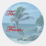 Pegatina de la etiqueta del regalo de la playa del