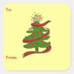 Pegatina de la etiqueta del regalo del árbol de