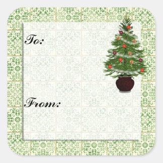 Pegatina de la etiqueta del regalo del árbol de na