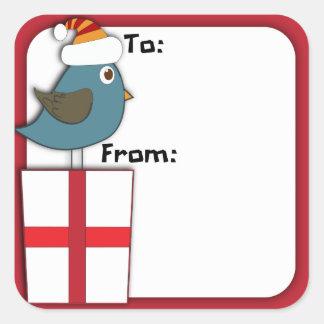 Pegatina de la etiqueta del regalo del pájaro de