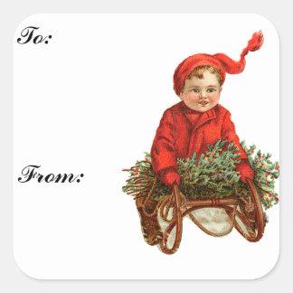 Pegatina de la etiqueta del regalo del trineo y