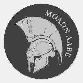 Pegatina de la etiqueta del rund de Molon Labe