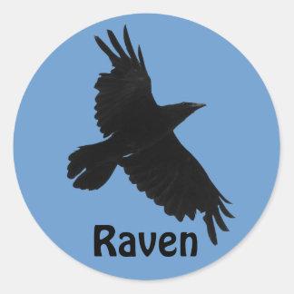 Pegatina de la fauna de Birdlover negro del cuervo