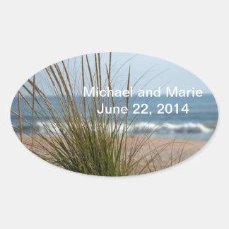 Pegatina de la fecha del boda de la vista al mar
