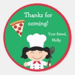 Pegatina de la fiesta de cumpleaños de la pizza