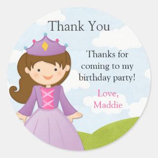 Pegatina de la fiesta de cumpleaños de la princesa