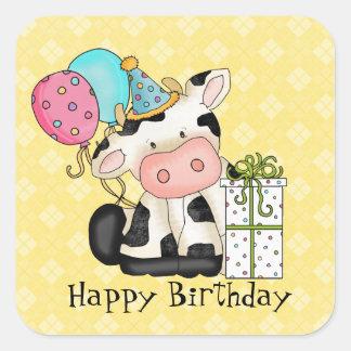 Pegatina de la fiesta de cumpleaños de la vaca del