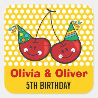 Pegatina de la fiesta de cumpleaños de los gemelos