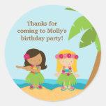Pegatina de la fiesta de cumpleaños de Luau