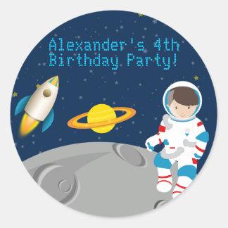 Pegatina de la fiesta de cumpleaños del astronauta