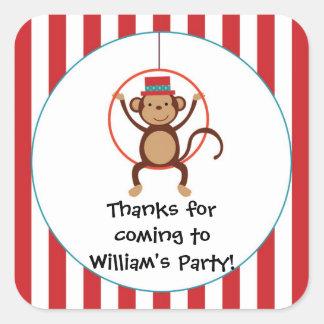 Pegatina de la fiesta de cumpleaños del mono del