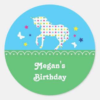 Pegatina de la fiesta de cumpleaños del unicornio