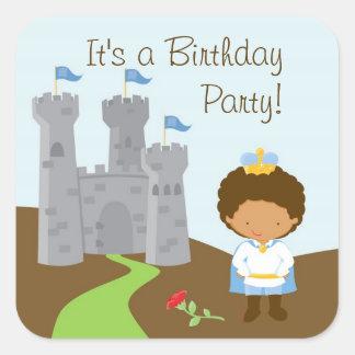 Pegatina de la fiesta del príncipe cumpleaños