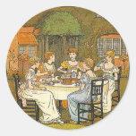 Pegatina de la fiesta del té del jardín de la