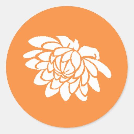 Pegatina de la flor de Lotus (naranja brillante)