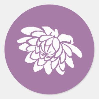 Pegatina de la flor de Lotus (púrpura oscura)