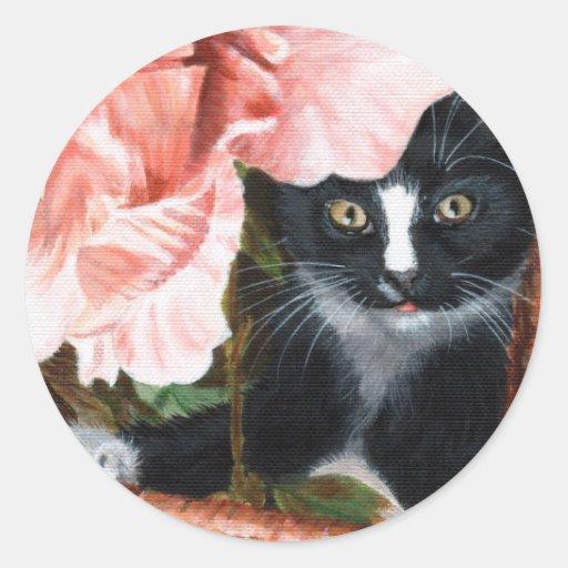 Pegatina de la flor del gatito del gato