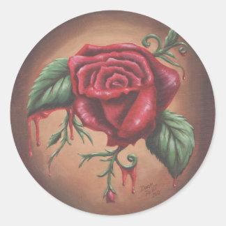 Pegatina de la flor del pegatina del rosa rojo que