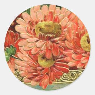 Pegatina de la flor del vintage