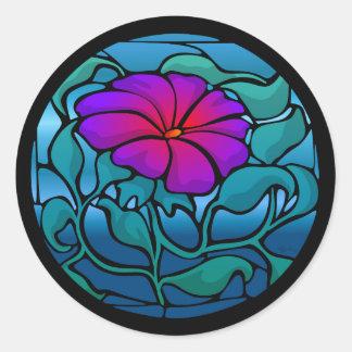 Pegatina de la flor del vitral