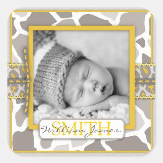 Pegatina de la foto del bebé del safari