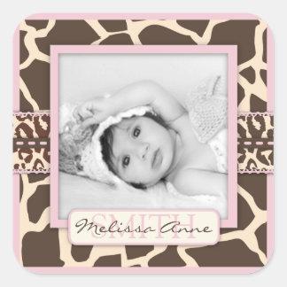 Pegatina de la foto del chica del safari
