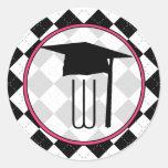 Pegatina de la graduación - monograma de Argyle
