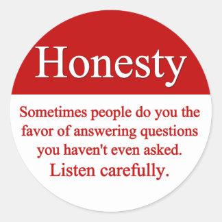 Pegatina de la honradez