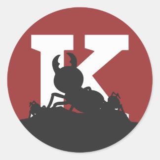 """Pegatina de la hormiga de """"K"""" - grande"""