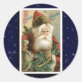 Pegatina de la imagen de Papá Noel del vintage