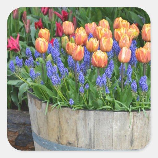 Pegatina de la impresión del jardín del tulipán de