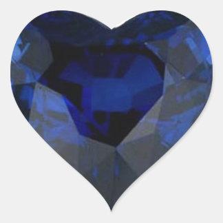 Pegatina de la impresión del zafiro del corazón