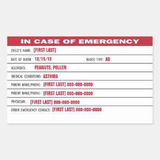 Pegatina de la información de emergencia del niño