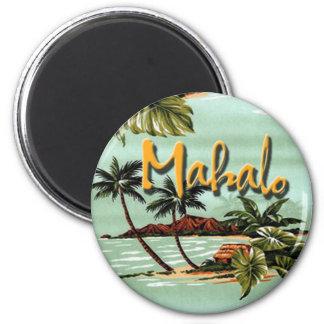 Pegatina de la isla hawaiana de Mahalo Imán Redondo 5 Cm